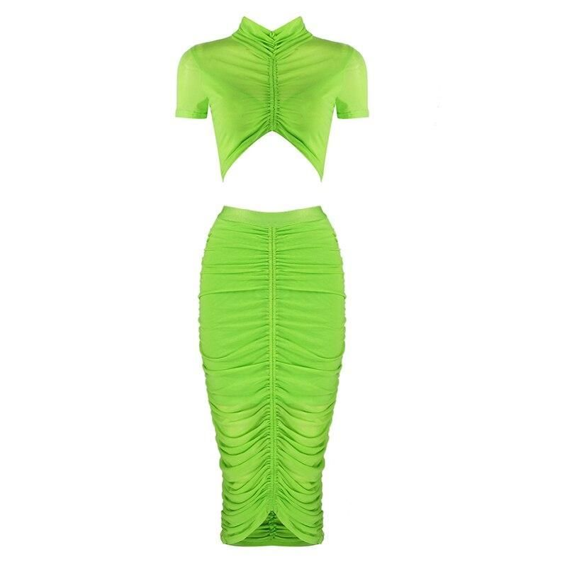 Green Collar Christmas Party 2020 2020 Green Two Pieces Turtleneck Bodycon Mesh Sets Celebrity
