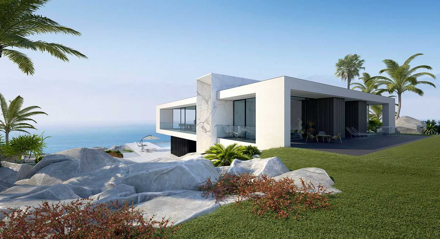 White Beach House Located In Spain