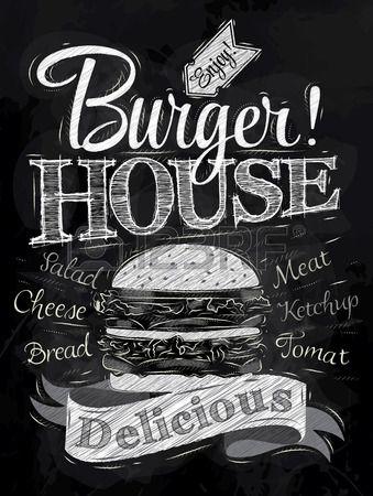 Cartel de las letras Burger House pintado con una hamburguesa y las inscripciones estilizado dibujo  Foto de archivo