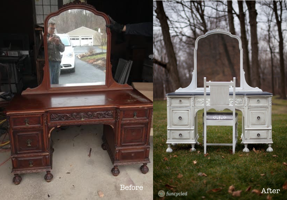 Painted antique vanity - white by FunCycled www.funcycled.com - White Antique Ornate Vanity – Tuesday's Treasures FunCycled