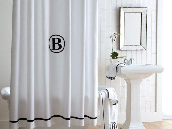 monogram shower curtain peacock alley