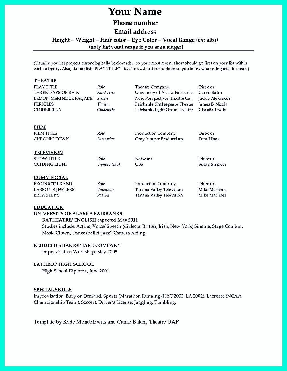 dance resume template microsoft word