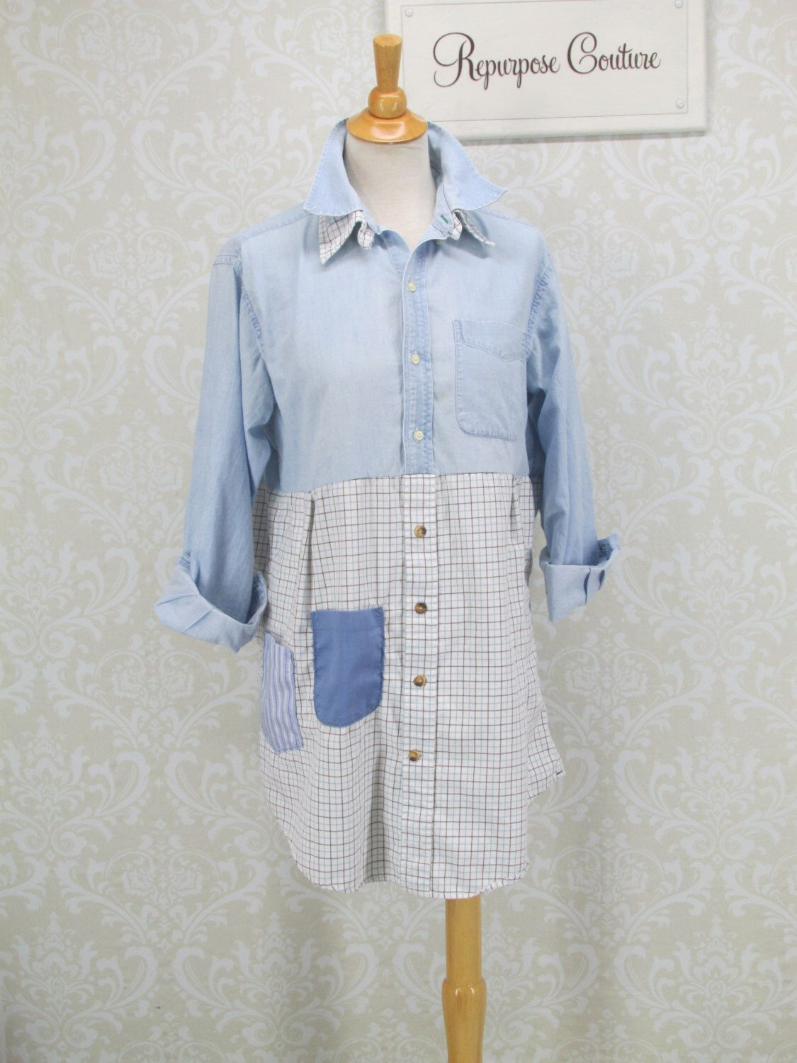 Womens Size L XL, Upcycled Tunic Dress, Denim Shirt, Plaid Shirt, Recycled Clothing, Boho Clothing, Bohemian Dress, Lagenlook Clothing by RepurposeCouture on Etsy https://www.etsy.com/listing/288732829/womens-size-l-xl-upcycled-tunic-dress