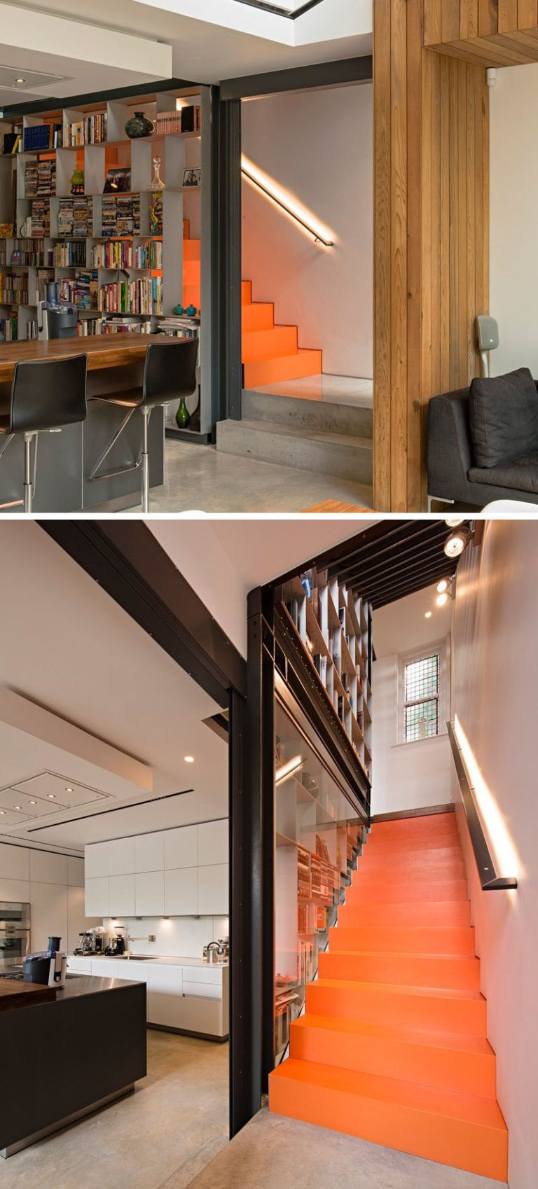 9 Stylish Staircases With Bookshelves As Safety Rails // The Bright Orange  Stairs And The Open Bookshelves Run The Entire Height Of This House.