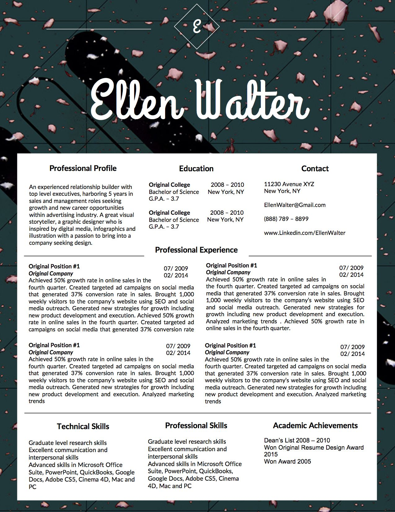 Beautiful Resume Template For Microsoft Word  The Ellen Walter