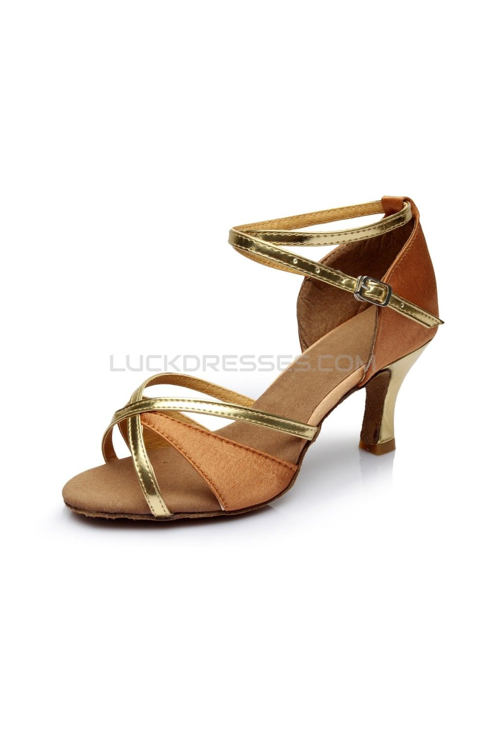 Women S Brown Gold Satin Heels Sandals Latin Salsa With Ankle Strap Dance Shoes D602019 Salsa Dance Shoes Latin Shoes Ballroom Dance Shoes