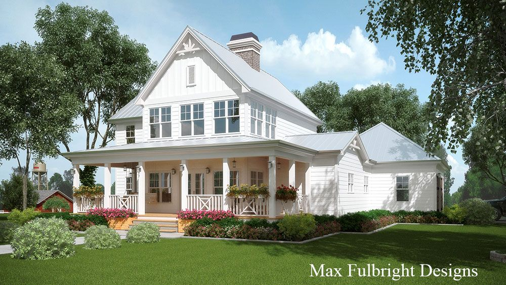 2 story house plan with covered front porch car garage for Farmhouse home designs