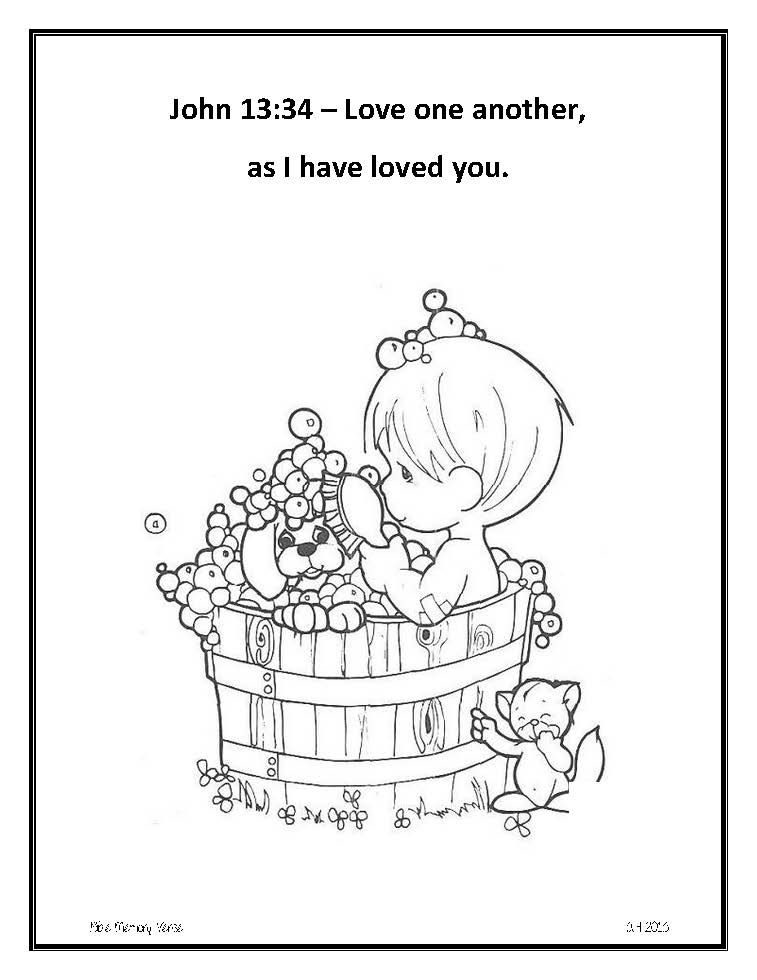 Love One Another As I Have Loved You Coloring Page Bible Memory Verse Sheet Photo