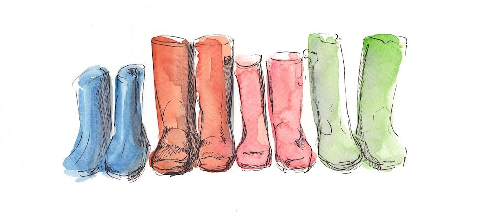 Wellies Watercolour And Pen Annie Brougham Pattern
