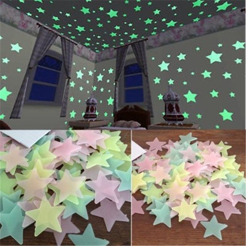 50pcs 3d Stars Glow In The Dark Wall Stickers Luminous Fluorescent Wall Stickers For Kids Baby Room Pegatinas De Pared Estrellas En El Techo Colores Decoracion