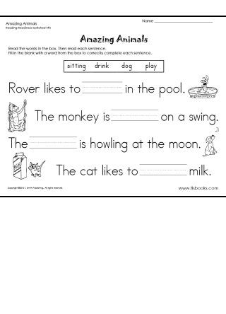 Snapshot Image Of Amazing Animals Reading Readiness Worksheet 5