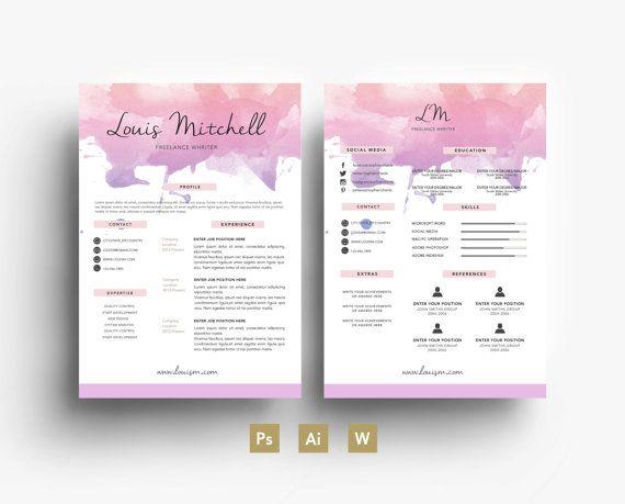 Louise Mitchel Digital Template - Résumé - Business card - CV ...