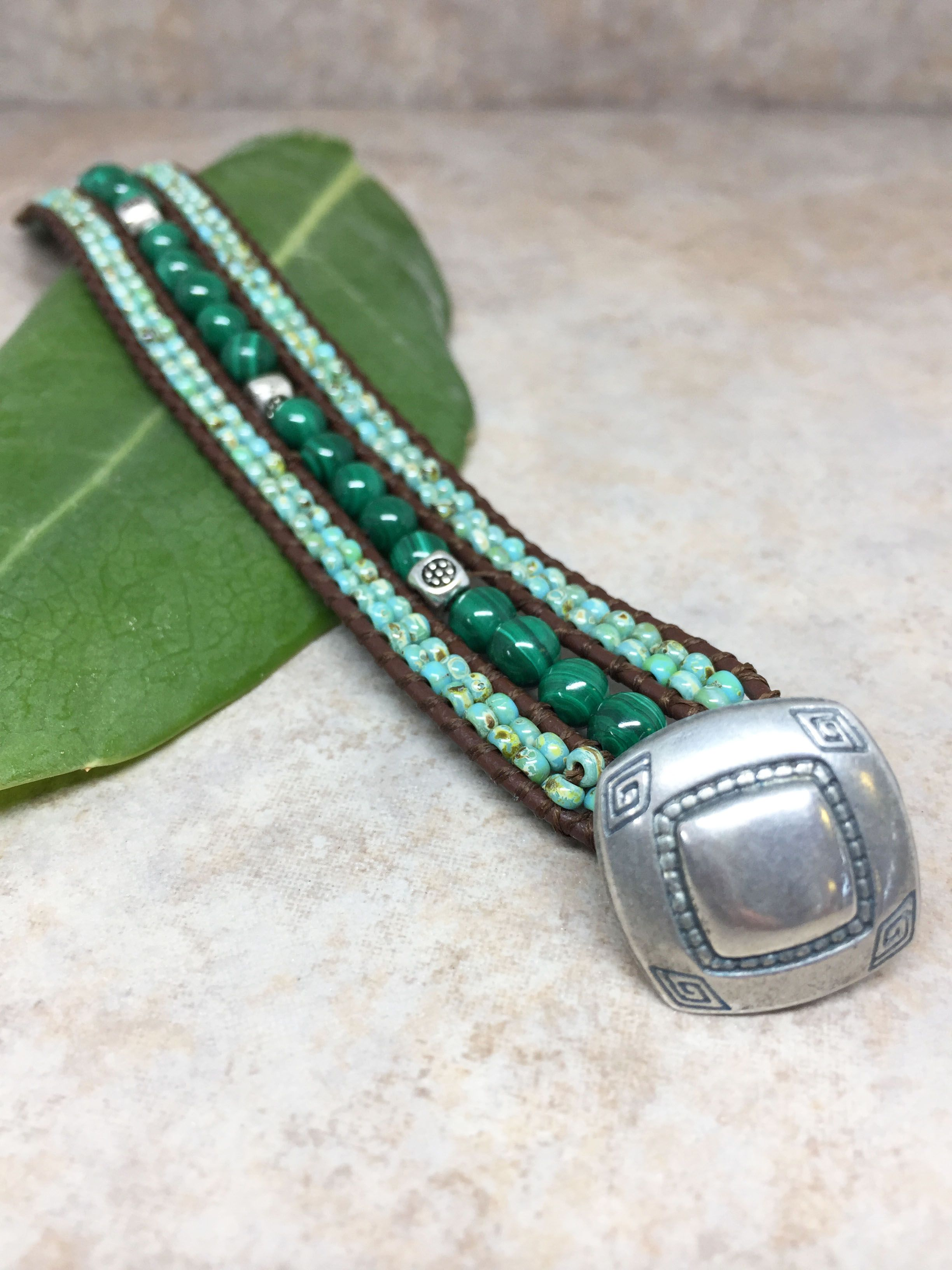 c5b70794cfa9f Leather Wrap Bracelet – Malachite Leather Wrap – Mother Earth ...