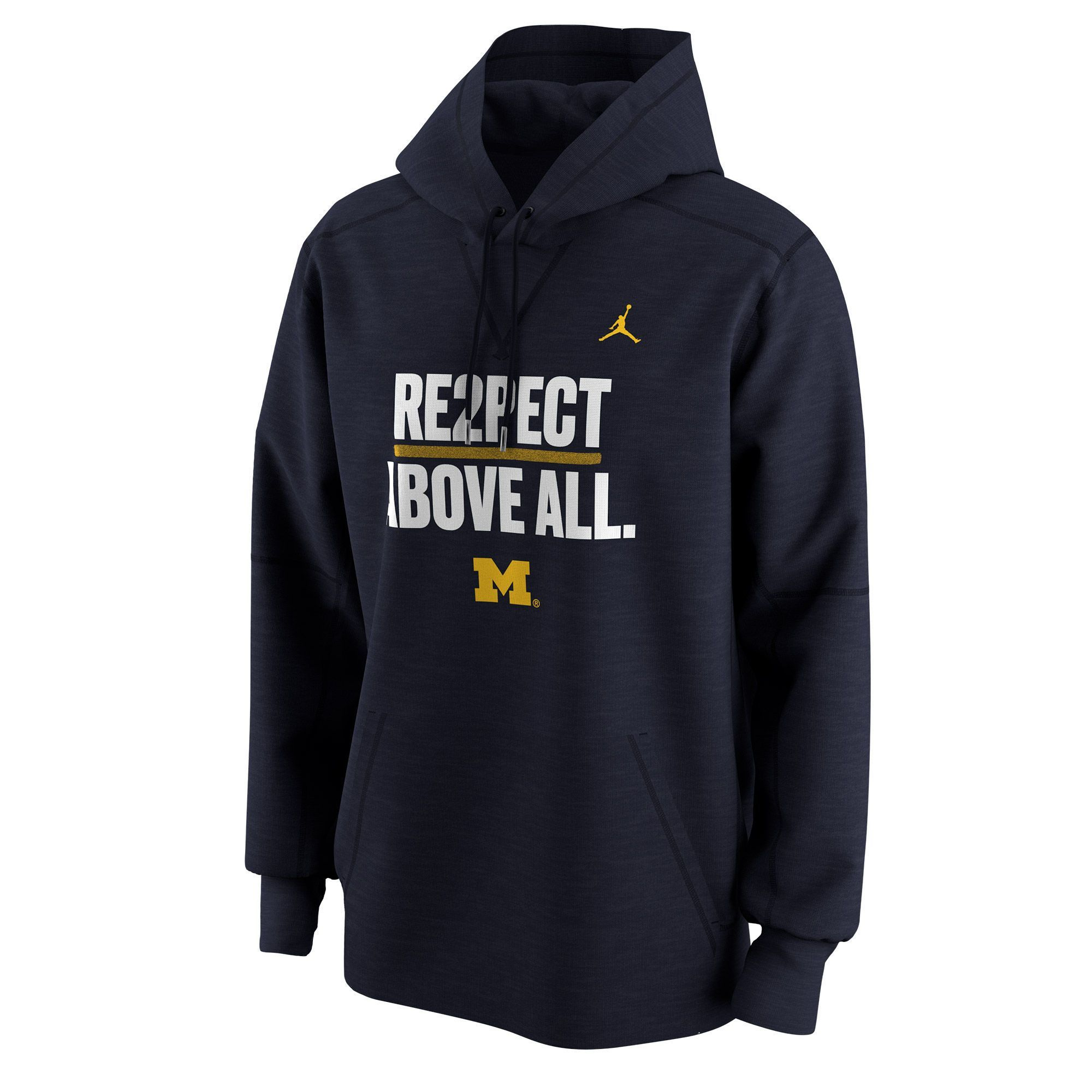 new concept d593d ee8dc Michigan Wolverines  Re2spect Above All  Jordan Men s Pullover Hoodie