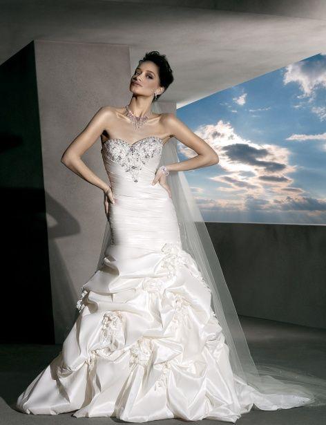 Sweetheart dropped waist trumpet / mermaid taffeta wedding dress