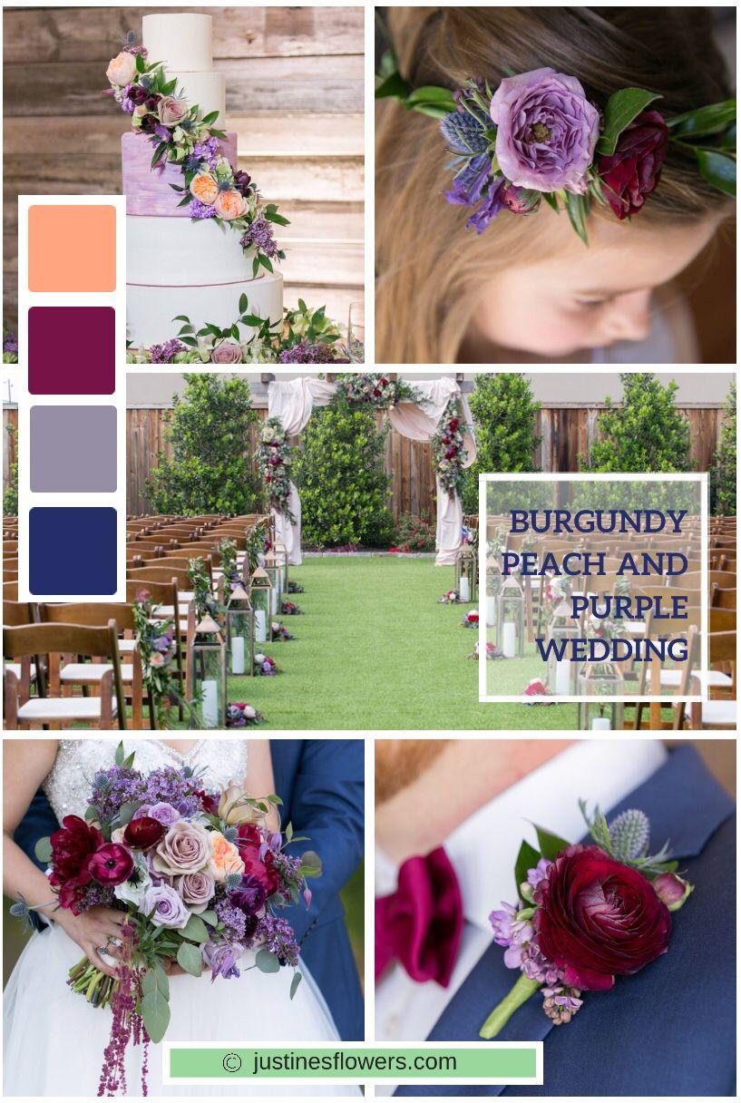 Burgundy Lavender Peach Navy Blue Wedding Featuring Ranunculus