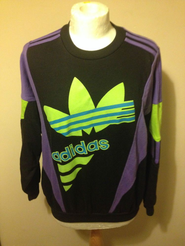 03653cff7da Vintage ADIDAS SWEATSHIRT SMALL D3 jumper BLACK indie 80s original retro  TREFOIL in Clothes