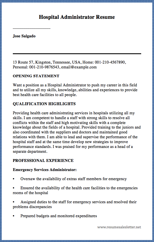 hospital administrator resume - Hospital Administrator Resume