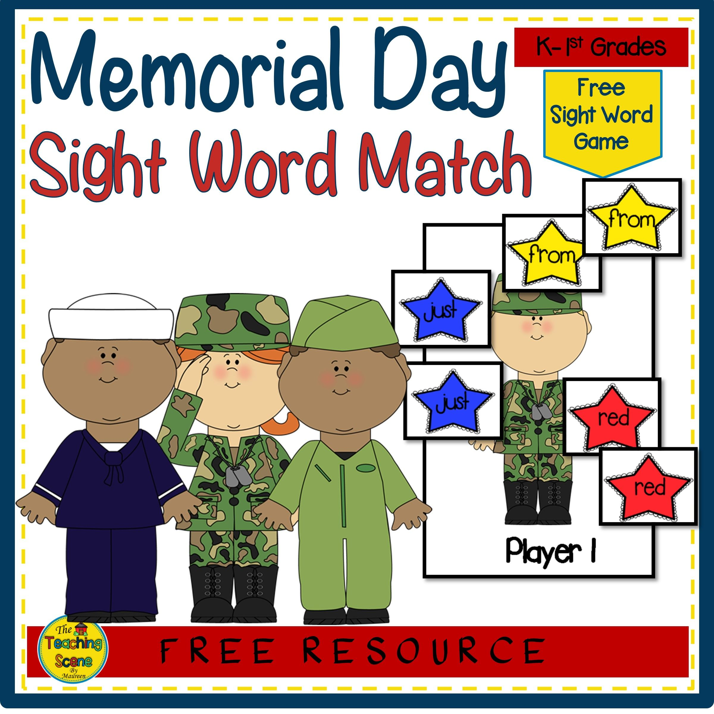 Free Memorial Day Sight Word Match Game In