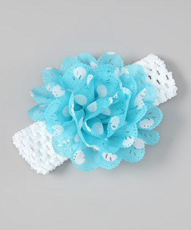 Take a look at this Blue & White Polka Dot Eyelet Flower Headband by Tutus by Tutu AND Lulu on #zulily today!