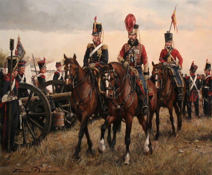Brigadier Diego de León, con un oficial de Artillería Montada, escoltado por un húsar de la Princesa. 1839 (Ferrer-Dalmau)