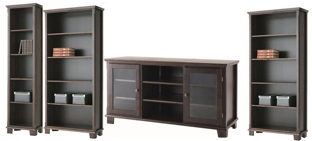 IKEA Markor Bookcases And TV Stand In Dark Brown