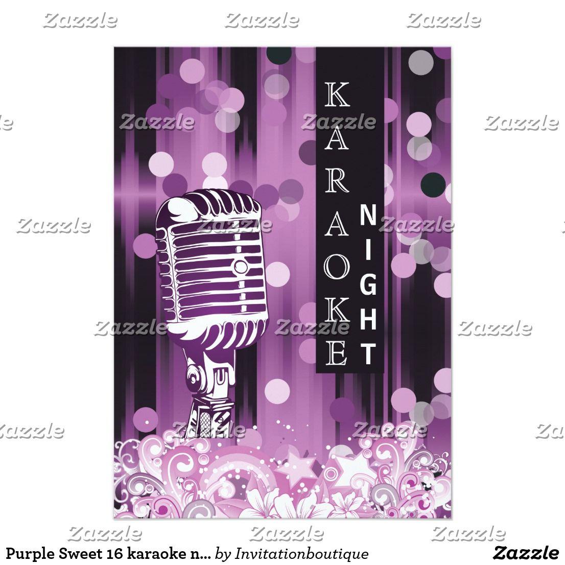 Purple Sweet 16 karaoke night party Invitation | Purple sweet 16 ...
