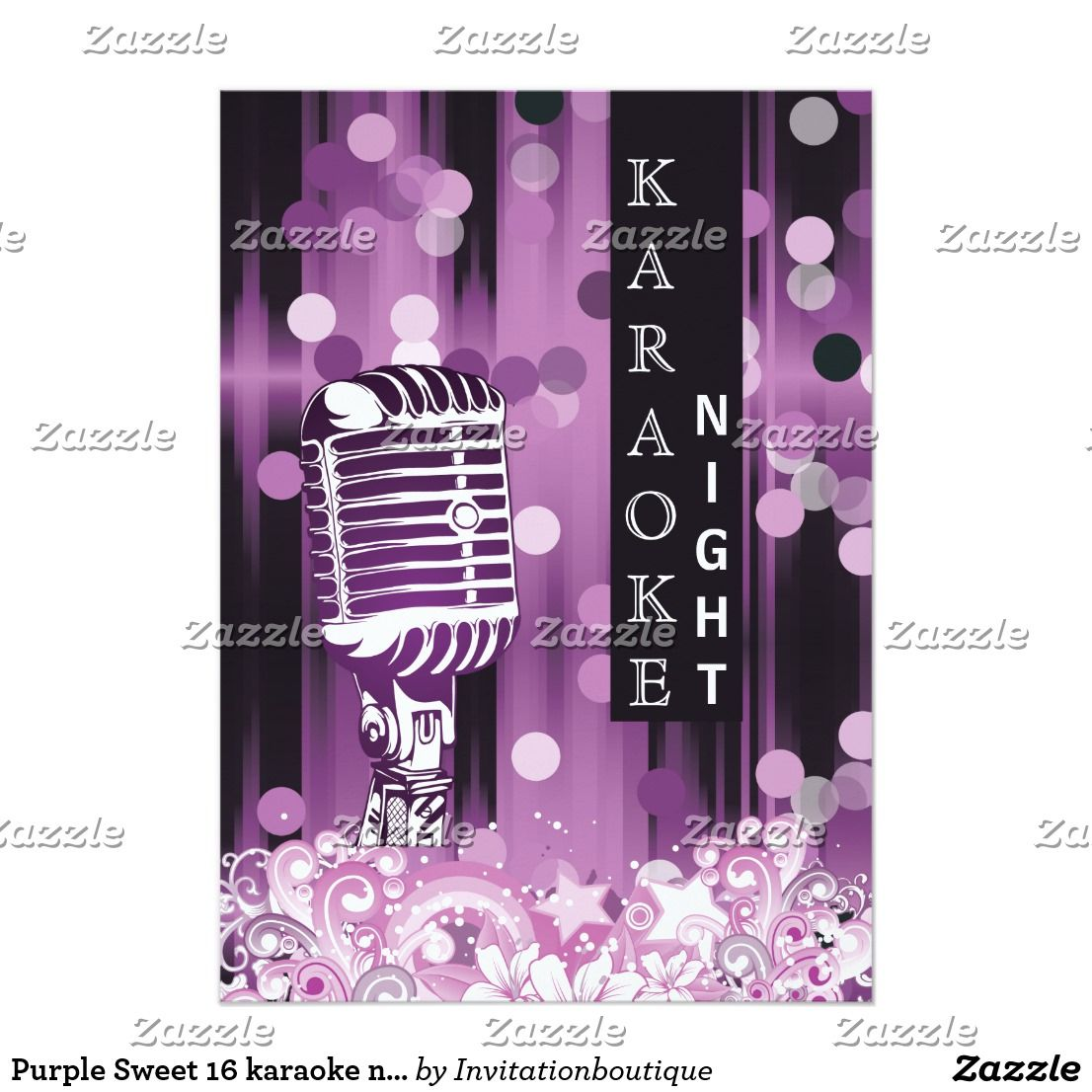 Purple sweet 16 karaoke night party invitation invitation cards purple sweet 16 karaoke night party invitation monicamarmolfo Image collections