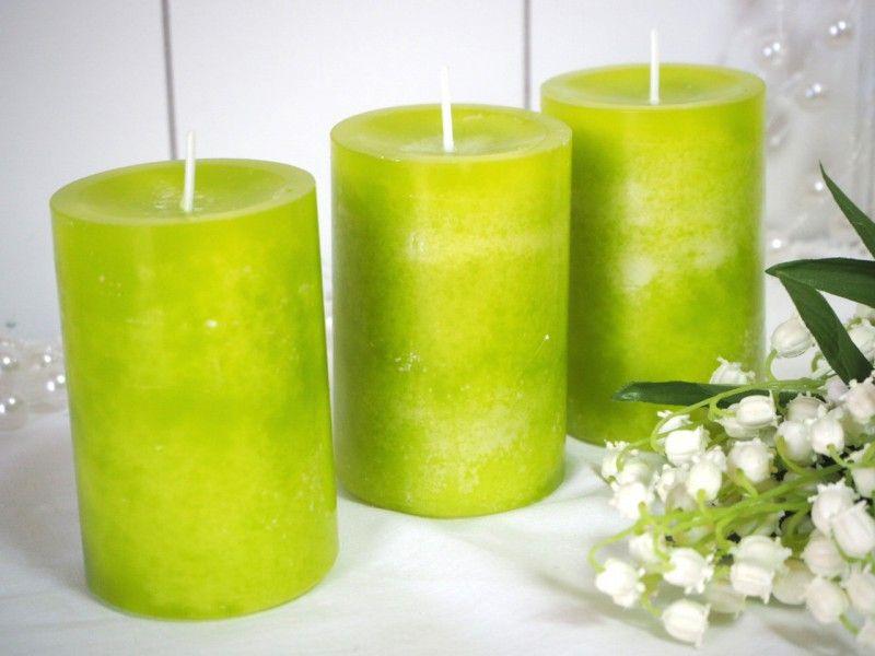 3 Stumpenkerzen Kerzen Grun Stumpenkerzen Grune Kerzen Und Kerzen