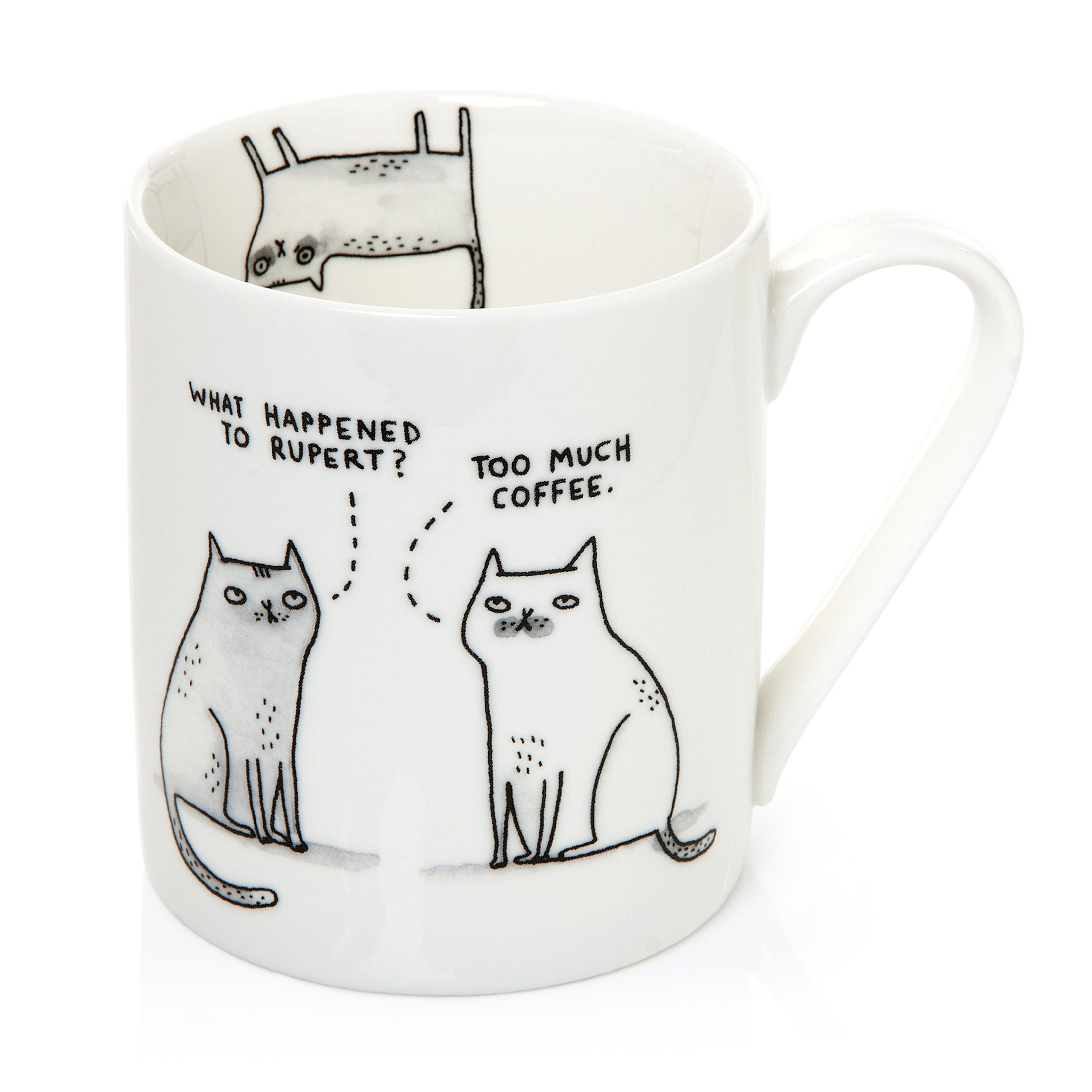 Gemma Correll Pickle Parade - Taza de cerámica (340 ml), diseño de gatos con texto en inglés, color blanco