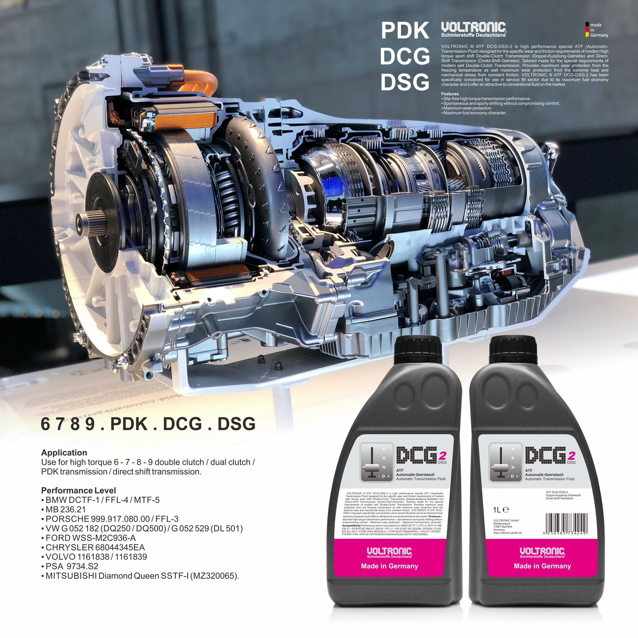 Voltronic Atf Dcg Dsg 2 Automatic Transmission Fluid Made In Germany Getriebe Kupplung
