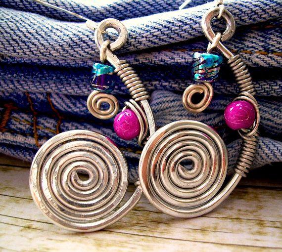 Bohemian Jewelry Hippie Boho Earrings Funky Earrings Wire Wrapped ...