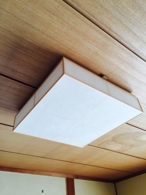 神奈川県綾瀬市にて 和室のペンダント照明から和風シーリングライトへ