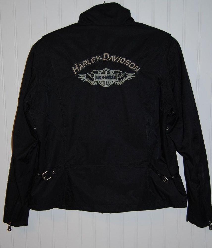 Harley Davidson Genuine Nylon Motorcycle Jacket Womens size XL Black #HarleyDavidson #Motorcycle