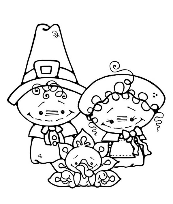 Two Cute Little Pilgrim Kids On Thanksgiving Day Coloring Page Download Print Online Coloring Pages For Free Color Nimbus