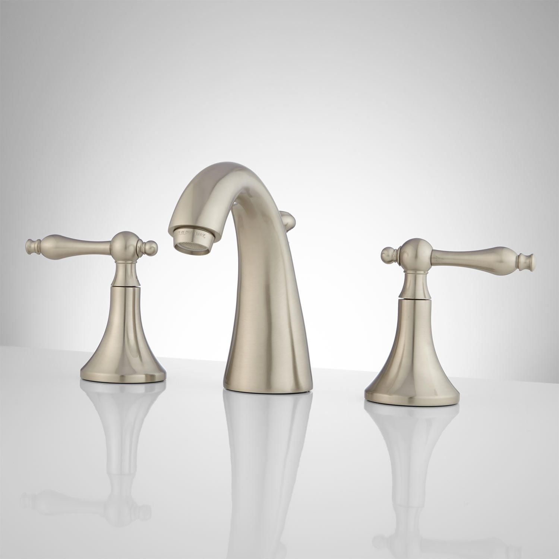 Dalles Widespread Gooseneck Bathroom Faucet - Pop-Up Drain - Brushed ...