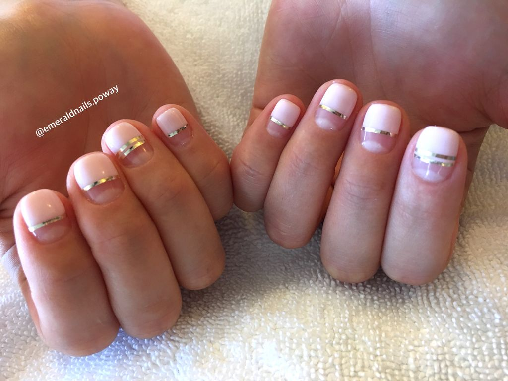 Gel manicure half pink nail designs with gold nail strips 2016 ❤️ - Gel Manicure Half Pink Nail Designs With Gold Nail Strips 2016