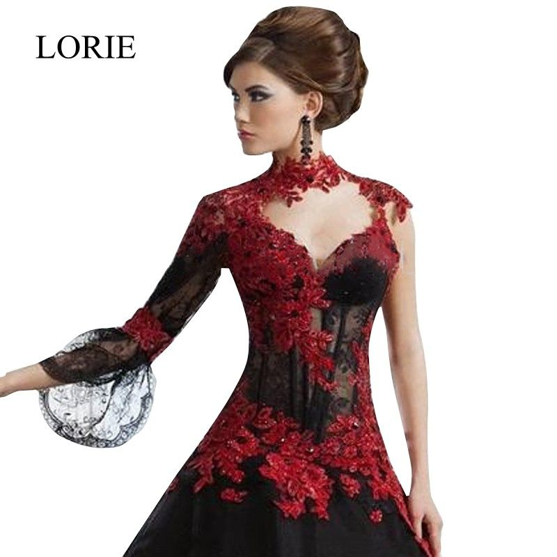 Romantic Black Gothic Ball Gown Wedding Dresses High Neck Long Sleeve Red  Lace Appliqued Sexy Taffeta Bridal Gown Vestido 2015  b75543cd5c4d