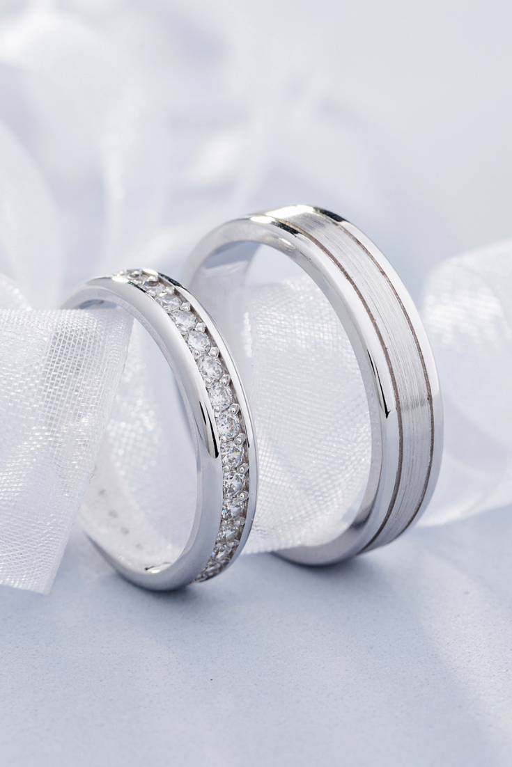 Elegant Wedding Bands With Diamonds Matching Wedding Bands Couple Rings Set In 2020 Wedding Rings Sets Gold Wedding Ring Sets White Gold Wedding Rings