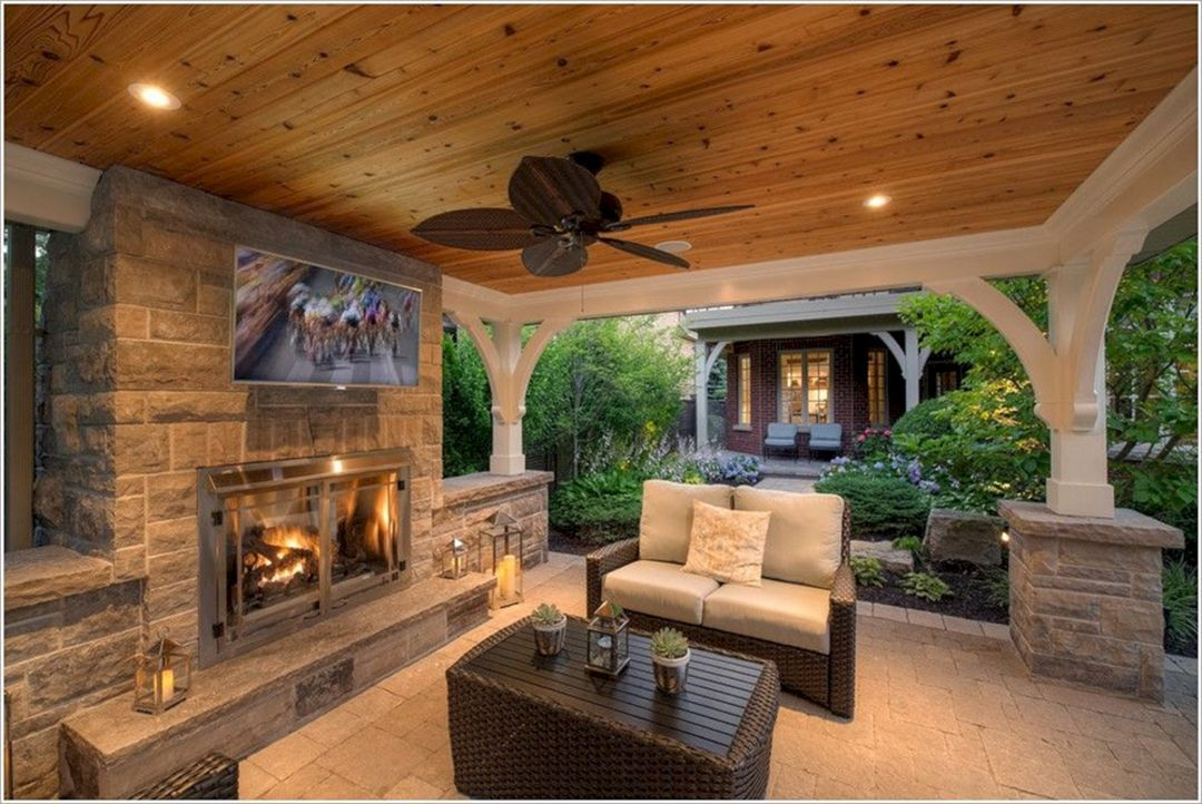 Gorgeous 25 Outdoor Fireplaces And Patios Design Ideas For Your Backyard Outdoor Stone Fireplaces Outdoor Covered Patio Backyard Fireplace