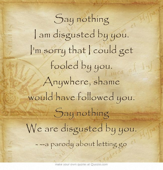 say nothing i am disgusted by you im sorry that i could get fooled by you anywhere shame would have followed you say nothing we are disgusted by you