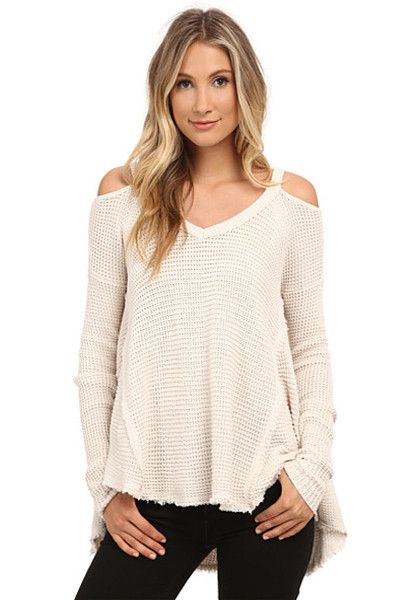 Over the Moon Cold Shoulder Waffle Knit Sweater | Waffle knit ...