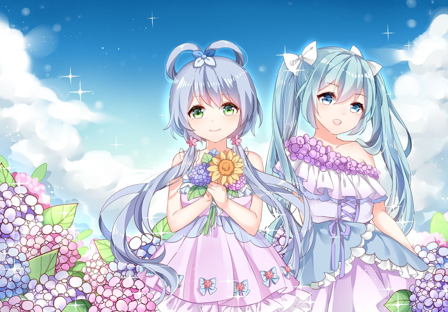 2girls hatsune_miku luo_tianyi vocaloid vocaloid_china