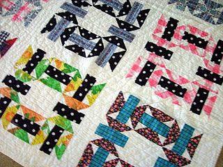 Antique butterfly quilt, detail, bright colors