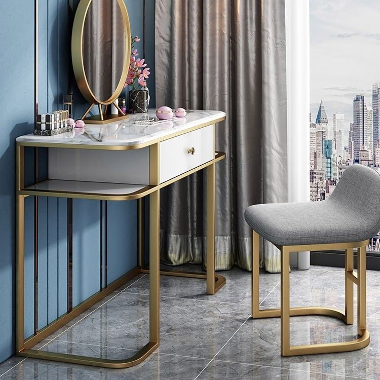 Faux Marble Tabletop Dressing Makeup Table with Mirror