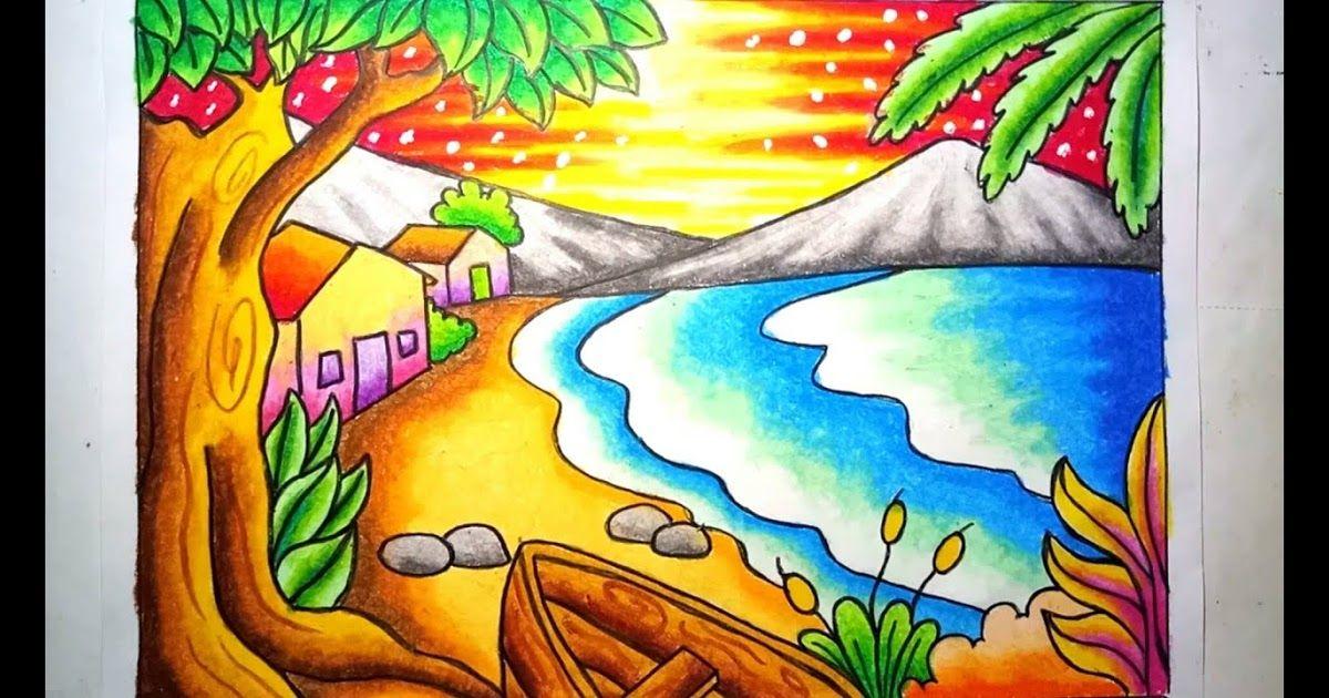 25 Lukisan Pemandangan Pantai Indah Tentu Saja Suasana Pantai Yang Tenang Menjadikan Jiwa Pun Ikut Tenang Seketika Contoh Di 2020 Gambar Pemandangan Cara Menggambar