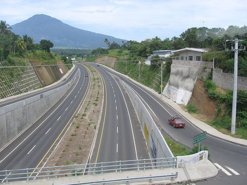 Road to San Salvador, Leaving from Apopa. Vertical road leads to Quezaltepeque. Volcano of San Salvador is seen in the distance. El Salvador. #elsalvadorfood