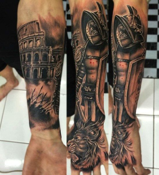 50 gladiator tattoo ideas for men amphitheaters and armor sleeve tattoos pinterest. Black Bedroom Furniture Sets. Home Design Ideas