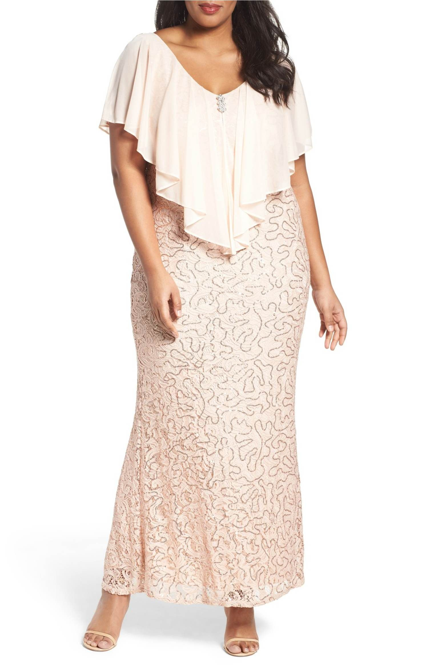 9a8072c6e0b1 Main Image - Marina Chiffon Capelet Sequin Lace Gown (Plus Size ...