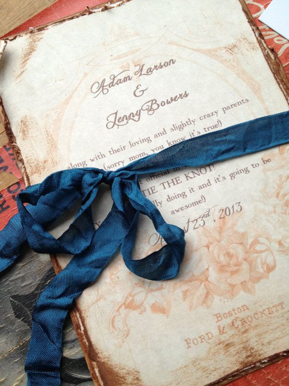Sepia Wedding Invitations Vintage Style Teal Red Gold Ivory Dusty Rose Peach
